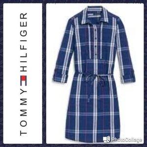 Tommy Hilfiger plaid cotton popover shirtdress